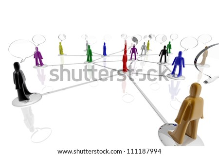 People of different colors connected with conversation symbols - stock photo