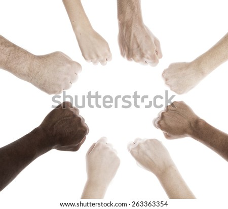 People of different generations ethnicity and sex with fist gesture - stock photo