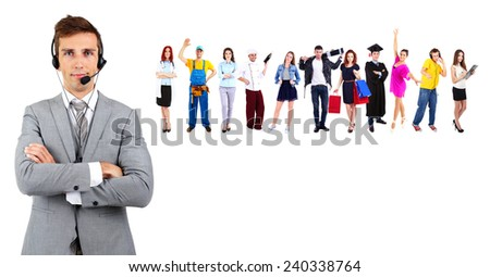 People of different professions in collage isolated on white - stock photo