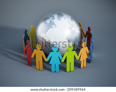 People of the Earth united concept. Image includes elements furnished by NASA. - stock photo