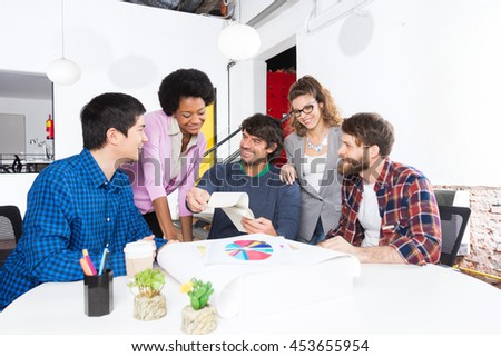 People office diverse mix race group businesspeople designers discussing smile casual wear - stock photo