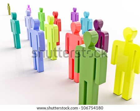 People on a light background, the green icon, look in one direction, 3D graphics - stock photo