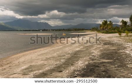 People on catamaran on stormy weather, Vita Levy, Fiji - stock photo