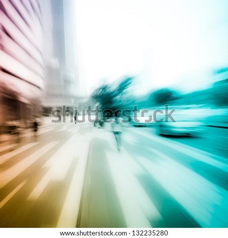 people on city street abstract blur - stock photo