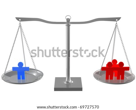 People on metal balance on white isolated background - stock photo