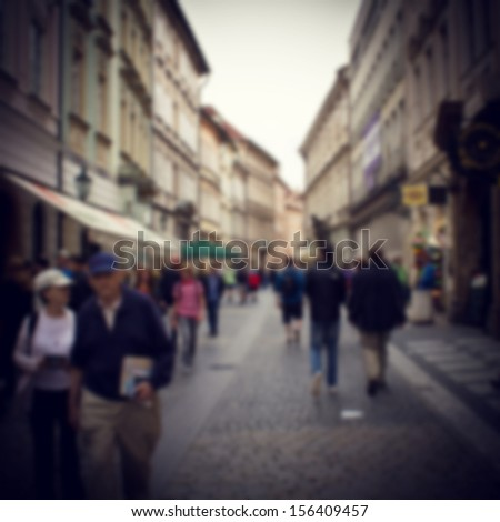 people on street blur background