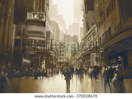 people on street in city,cityscape painting with vintage style - stock photo
