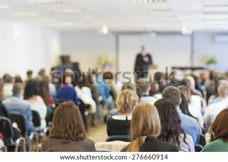People on the Conference Listening to the Lecturer. Back View. Horizontal Image Composition - stock photo