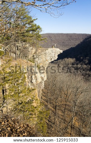 People on the stone cliff in the mountains. Hawksbill Grag,  Upper Buffalo Wilderness Area, Arkansas