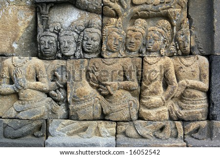 People on the wall of Borobudur, Java, Indonesia