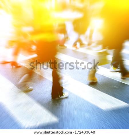people on zebra crossing street - stock photo