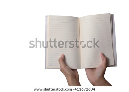 people open blank book for note something on - stock photo