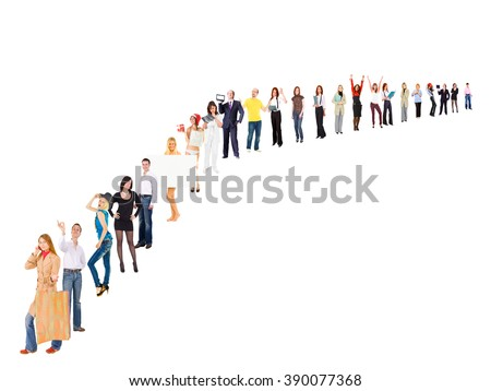 People Order Isolated Groups  - stock photo