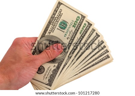 people palm taking pack of dollars - stock photo