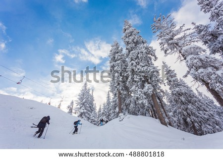 People play ski in ski resort in winter season