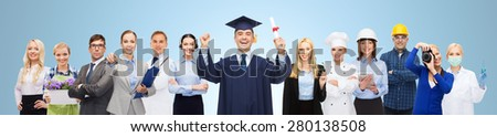 people, profession, education and success concept - happy bachelor with diploma over different workers and blue background - stock photo
