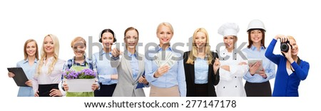 people, profession, employment, compensation and finances concept - happy businesswoman holding dollar money over group of professional workers - stock photo