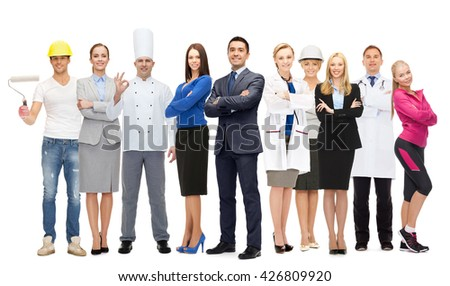 people, profession, qualification, employment and success concept - happy different businessman over group of professional workers - stock photo