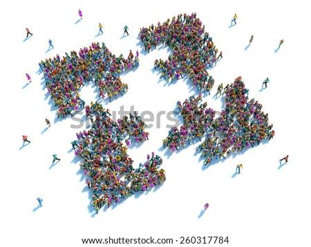People putting the pieces together concept . Large group of people in the shape of four puzzle pieces - stock photo