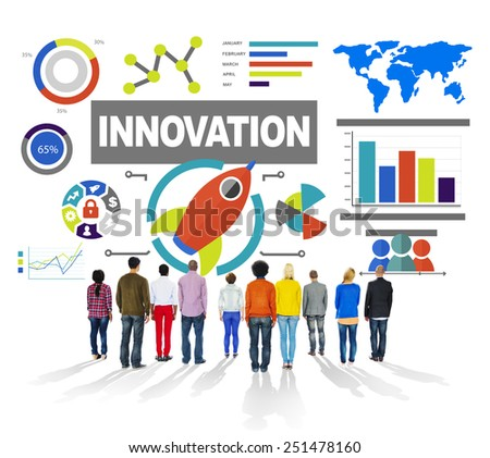 People Rear View Togetherness Creativity Growth Success Innovation Concept - stock photo