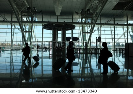 people reflex in the airport - stock photo