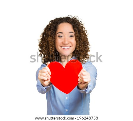 People, relationship, love, health, peace concept. Closeup portrait happy smiling woman holding, giving, offering, showing red heart isolated white background. Positive human emotion facial expression - stock photo