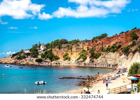People relaxing on the Cala d'Hort beach. Ibiza, Balearic Islands. Spain
