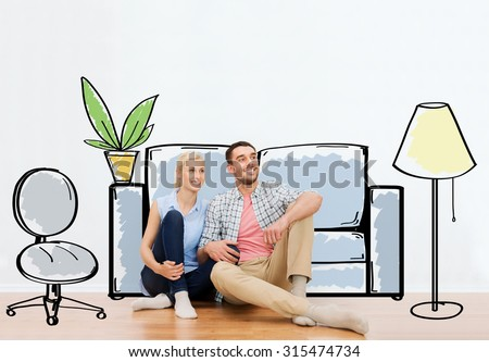 people, repair, moving in, interior and real estate concept - happy couple of man and woman sitting on floor at new home over furniture cartoon or sketch background - stock photo