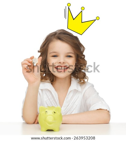people, royalty, finances and childhood concept - smiling girl with piggy bank and euro coin and crown doodle over head - stock photo