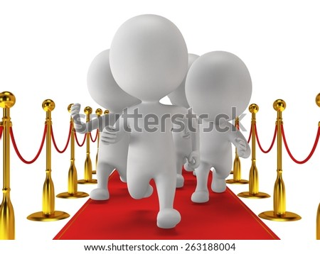 People run on red event carpet with golden rope barriers. 3D render isolated on white. Chase, pursuit of happyness, glory and success concept. - stock photo