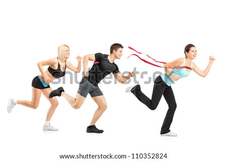 People running towards finish line isolated on white background - stock photo