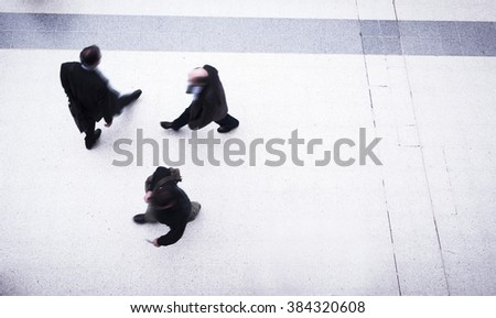 people rush hour in the subway - stock photo