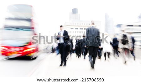 People rushing in London. - stock photo