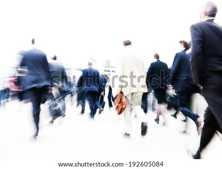People rushing to work. - stock photo
