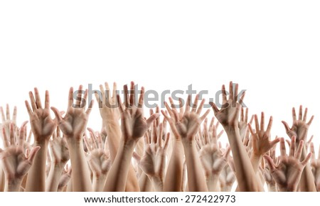 People's hands lifted up in the air isolated on white background. Sale poster. Festive backdrop poster on Black Friday theme with copy space and clipping pass.