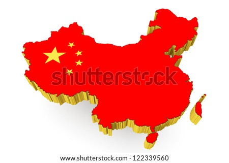 People's Republic of China map with flag on a white background - stock photo