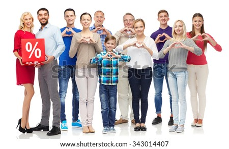 people, sale, discount and shopping concept - happy people with red percentage sign showing heart shape