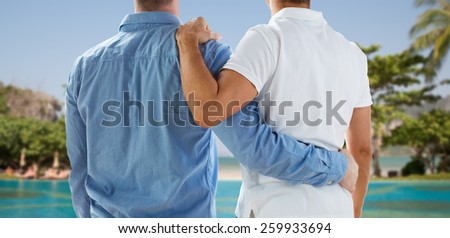 people, same-sex marriage, honeymoon, travel and vacation concept - close up of happy male gay couple or friends hugging from back over exotic resort beach background - stock photo