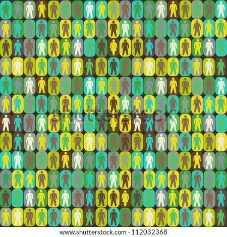 People seamless pattern - stock photo