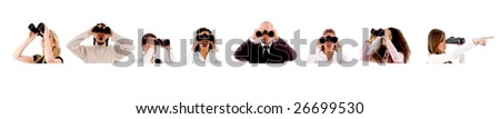 People search on white background - copyspace - stock photo