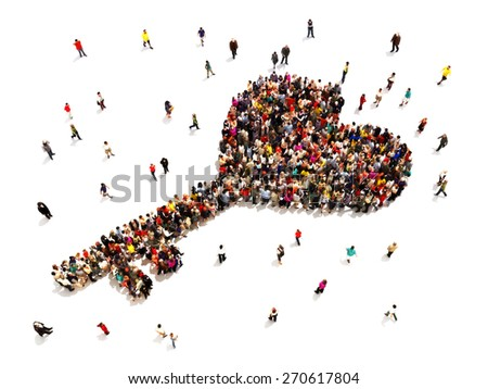 People searching for or finding the key to love or marriage concept. Large group of people in the shape of a heart key isolated on a white background. - stock photo