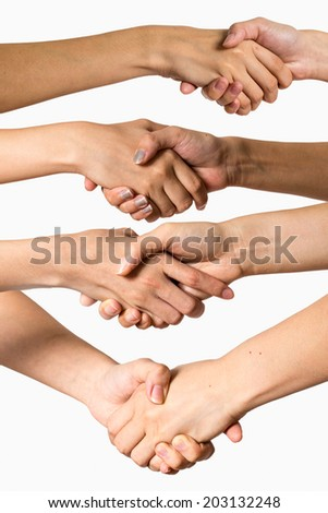 People shaking hand on white background