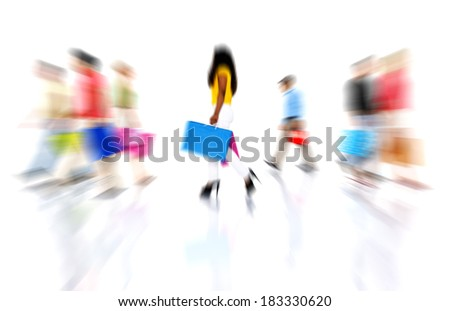 People Shopping at Rush Hour - stock photo