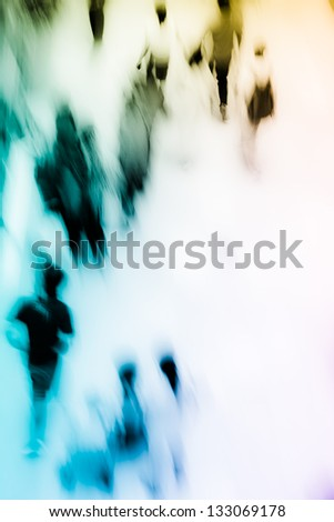 people shopping in central marketplace, high angle view, blurred motion - stock photo