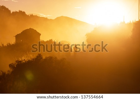People silhouette in Bolivia - stock photo
