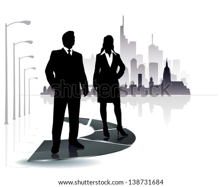 people silhouette with modern city background - stock photo