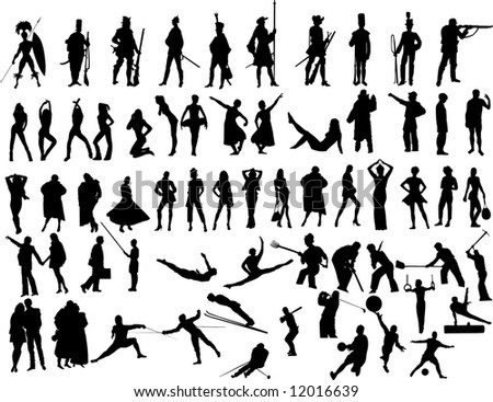 people silhouettes Illustrations - stock photo
