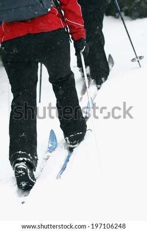 People skiing, low section, Vasterbotten, Lapland, Sweden - stock photo