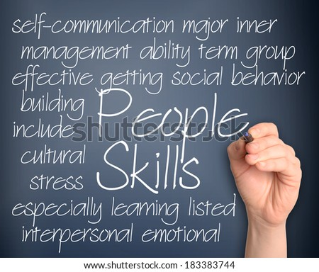 People skills word cloud handwritten on dark blue background - stock photo