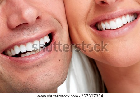 People smile. Happy loving couple healthy teeth. - stock photo